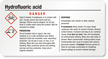 Hydrofluoric Acid GHS Chemical Label, Small