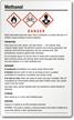 Methanol Danger Large GHS Chemical Label