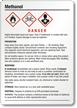 Methanol Danger Medium GHS Chemical Label