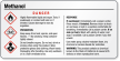 Methanol Danger Small GHS Chemical Label