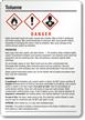 Toluene Danger Medium GHS Chemical Label