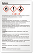 Xylene Danger Large GHS Chemical Label