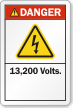 13,200 Volts ANSI Danger Label