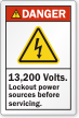 13,200 Volts Lockout Power Sources Before Servicing Label