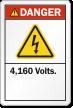 4,160 Volts ANSI Danger Label
