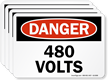 480 Volts OSHA Danger Label
