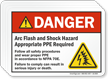 Arc Flash and Shock Hazard PPE Required Label