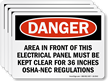 Electrical Panel Kept Clear OSHA-NEC Regulations Label