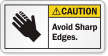 Avoid Sharp Edges ANSI Caution Label
