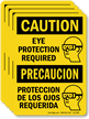 Bilingual Eye Protection Required OSHA Caution Label
