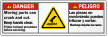 Bilingual Moving Parts Can Crush/Cut Danger Label