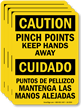 Bilingual Pinch Points Keep Hands Away Caution Label