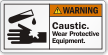Caustic Wear Protective Equipment ANSI Warning Label