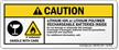 Caution Rechargeable Batteries Inside Label