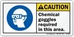 Chemical Goggles Required In This Area Caution Label