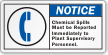 Report Chemical Spills To Plant Supervisory Personnel Label