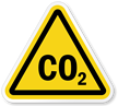 CO2 Symbol, ISO Triangle Warning Sticker