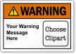 Customizable ANSI Warning Label, Choose Clipart