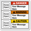 Custom Danger, Warning, Caution Message Multi-Clipart ANSI Label