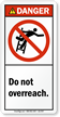 Do Not Overreach ANSI Danger Ladder Label