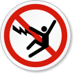 Electric Shock ISO Prohibition Safety Symbol Label