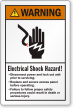 Electrical Shock Hazard Disconnect Power ANSI Warning Label