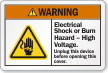 Electrical Shock Or Burn Hazard, High Voltage Label
