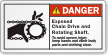 Exposed Chain Drive And Rotating Shaft Danger Label