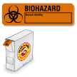 Grab-a-Label Paper Biohazard Labels  in Dispenser 7/8