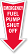 Fuel Pump Shut Off Arrow Safety Label