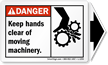 ANSI Danger Moving Machinery Label with Detachable Arrow