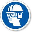 Hard Hat, Goggles, Ear Muffs ISO Mandatory Label