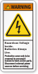 Hazardous Voltage Inside Batteries Always Live Warning Label