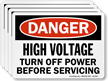 High Voltage, Turn Off Power Before Servicing Label