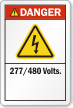277/480 Volts ANSI Danger Label