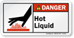 Hot Liquid ANSI Danger Label With Graphic