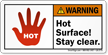 Hot Surface Stay Clear ANSI Warning Label