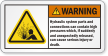 Hydraulic System Contain High Pressure ANSI Warning Label