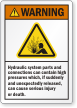 Hydraulic System Parts Contain High Pressure Warning Label
