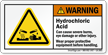 Hydrochloric Acid Wear PPE ANSI Warning Label