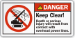 Keep Clear Overhead Power Lines ANSI Danger Label