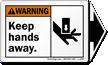 Keep Hands Away Warning  Label, Detachable Arrow