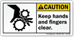 Keep Hands And Fingers Clear Caution Label