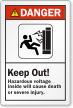 Keep Out Hazardous Voltage Inside ANSI Danger Label