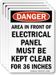 Electrical Panel, Kept Clear For 36 Inches Label