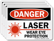Laser Wear Eye Protection OSHA Danger Label