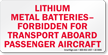 Lithium Metal Batteries Label