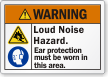 Loud Noise Hazard Wear Ear Protection Warning Label