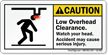 Low Overhead Clearance Watch Your Head Label