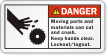 Moving Parts Can Cut And Crush Danger Label